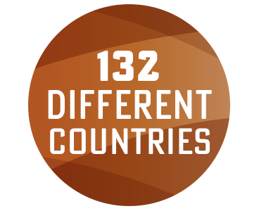 132 different countries