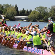 Sharie Cousins in a Dragon boat