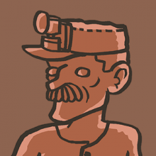 Coal miner statue illustration