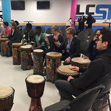 Lethbridge College community members form a drum circle at a 2018 Black History Month celebration
