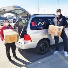 Volunteers head out with deliveries as part of the GPRC Cares campaign.