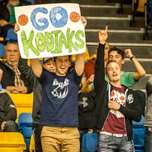 Fans cheer on the Lethbridge College Kodiaks.