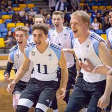 The Lethbridge College Kodiaks men's volleyball team celebrates a victory during the 2018-19 season.