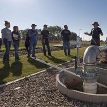 Agriculture students visit the Alberta irrigation research station on a field trip.