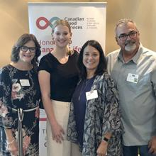 At the 2019 Honouring Canada's Lifeline event (l to r): (L to R): Sandra Dufresne, Lethbridge College Executive Director of Advancement; Kate Potts, Canadian Blood Services recipient speaker; Bernadine Toby Boulet, Canadian Blood Services award winners.