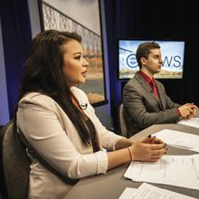 Digital Communications and Media students get experience anchoring a newscast as part of their studies.