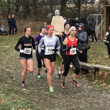 Sophia Nowicki leads the pack at the 2018 CCAA Championships in Toronto.
