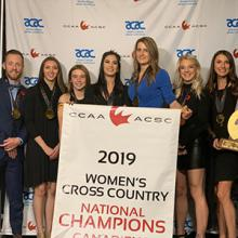 The Kodiaks CCAA women's cross country gold medalists.