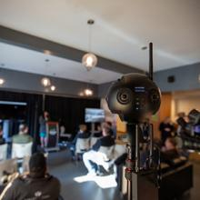 A 360-degree camera captures images at the launch of Lethbridge College's two new tech-based programs.