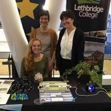 Willemijn Appels, Sophie Kernéis and student Ashtin Halmrast run the Lethbridge College booth at the Lethbridge Regional Science Fair and Science Olympics in 2018.