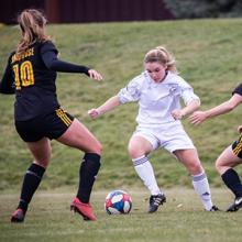 Kodiaks women's soccer player Ailsa Fallows in action during the 2019-20 ACAC season.