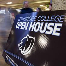 A sign welcomes visitors to Lethbridge College's Open House