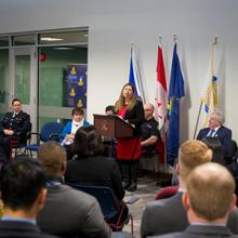 Dr. Jeanine Webber, Dean of the Centre for Justice and Human Services addresses a new class of Police Cadet Training students.